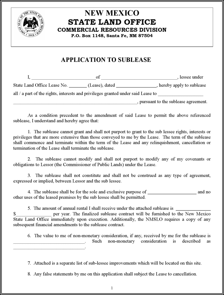 New Mexico Application to Sublease Form