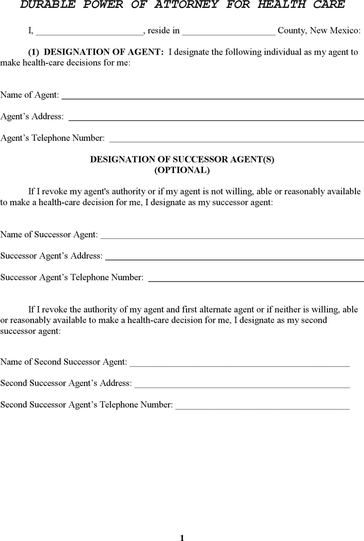 Power of attorney template free template downloadcustomize and print new mexico durable power of attorney for health care form falaconquin
