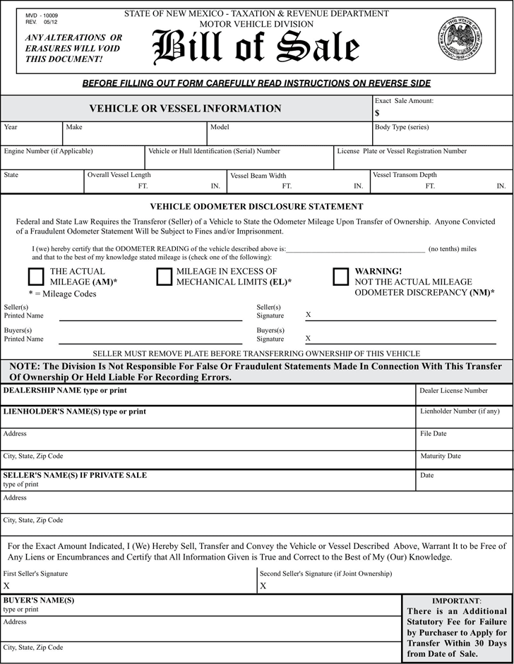 New Mexico Motor Vehicle Bill of Sale Form