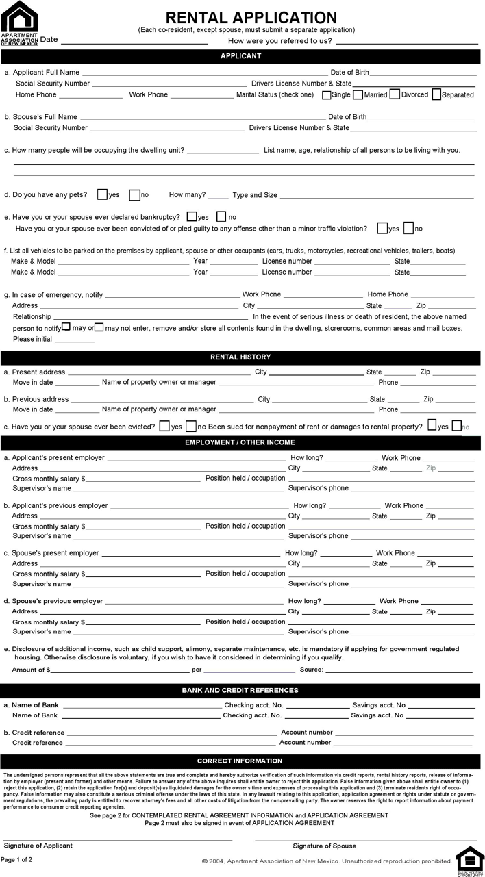 New Mexico Rental Application Form