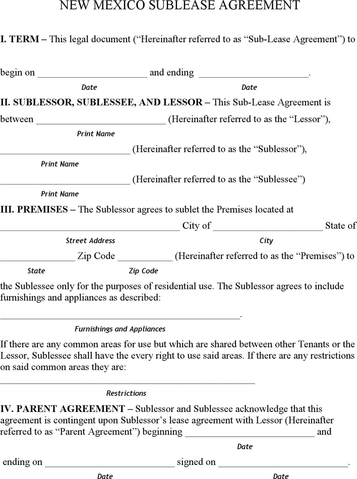 Rent and Lease Template Template Free Download – Sublet Agreement Template