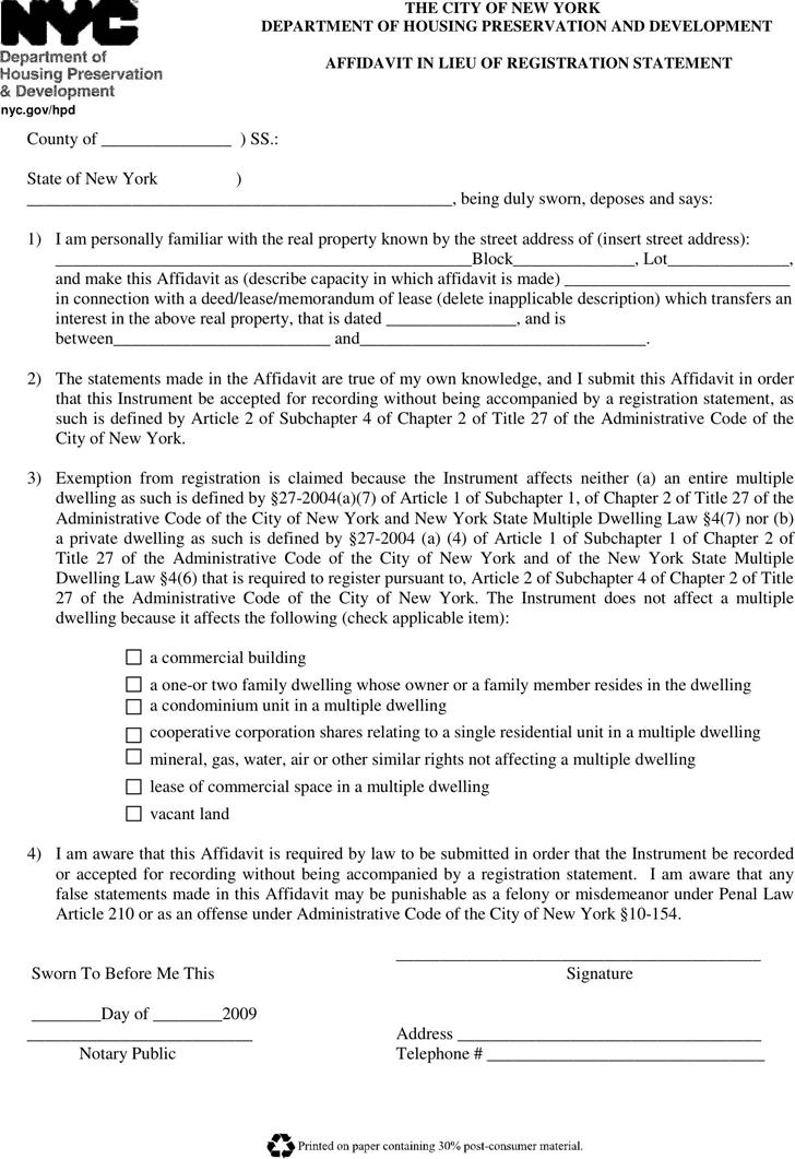 Free New York Affidavit Lieu Of Registration Statement Pdf 57kb