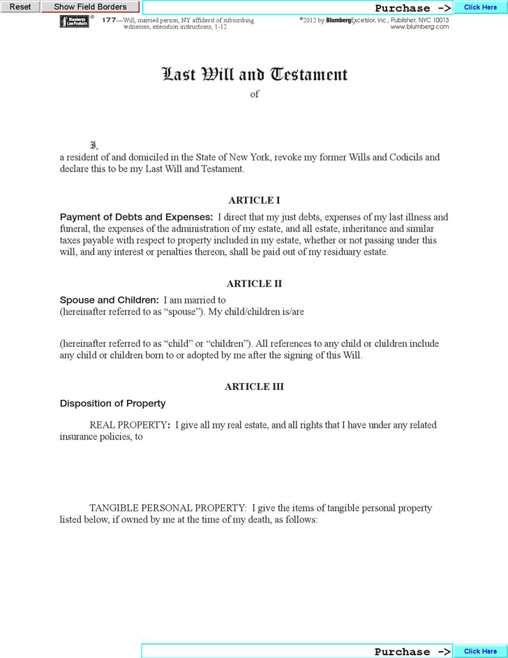 Last will and testament template free template download for Will template new york