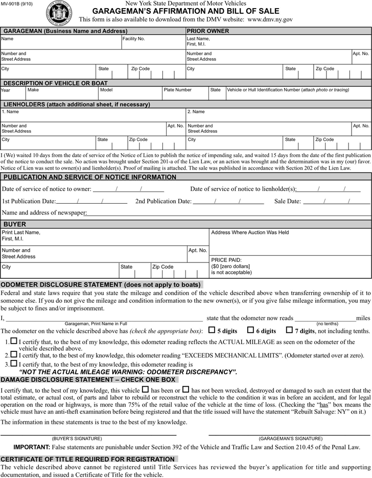 New York Motor Vehicle Bill Of Sale Form