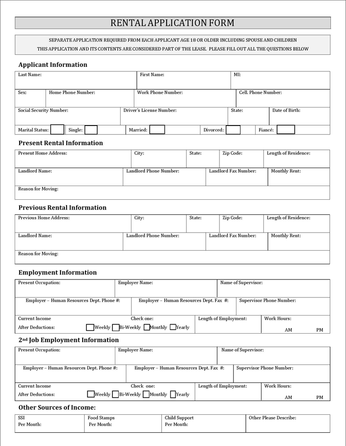 basic rental application forms