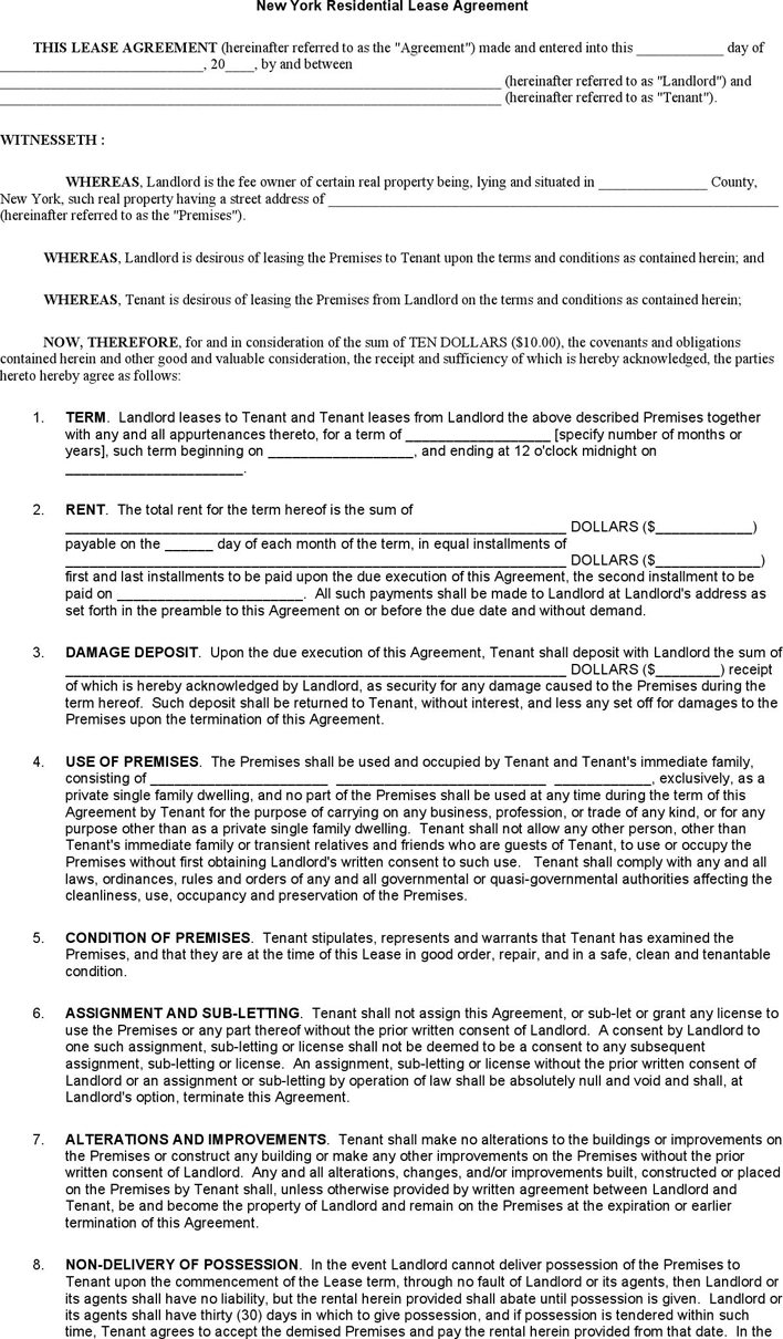 Free New York Residential Lease Agreement Form Doc 61kb 4 Pages