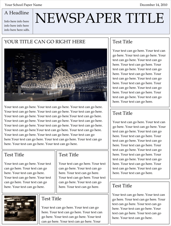 Newspaper Template Template Free Download Speedy Template