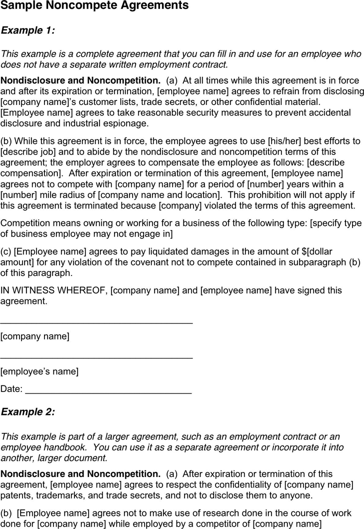 Free Non Compete Agreement Sample Pdf 10kb 2 Pages