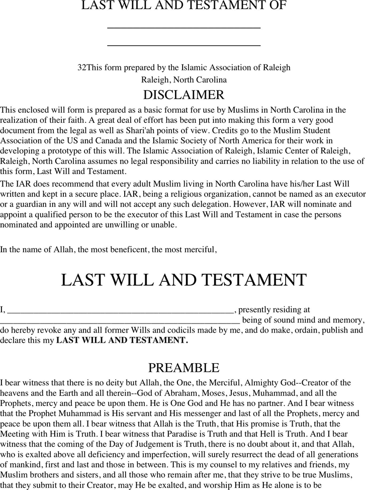Free North Carolina Last Will And Testament Form PDF KB - Last will and testament template word document