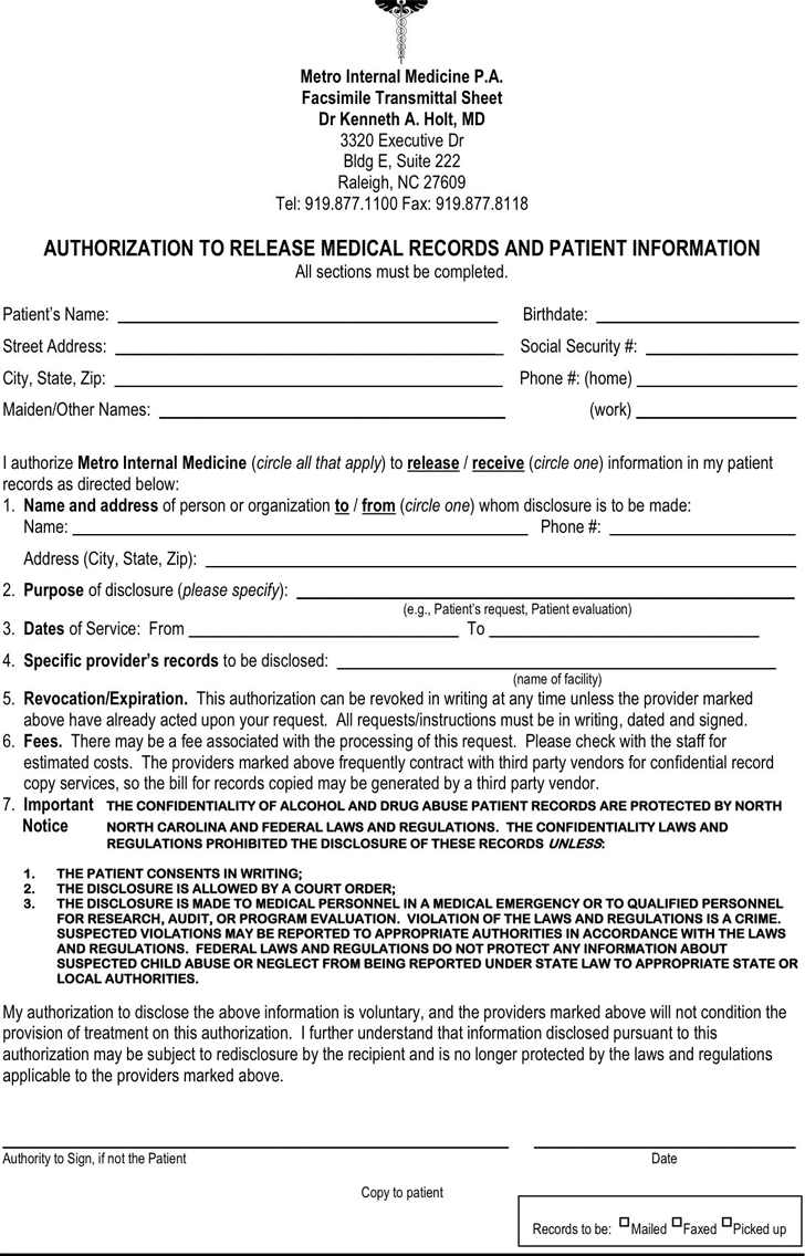 authorization to release medical records form sample