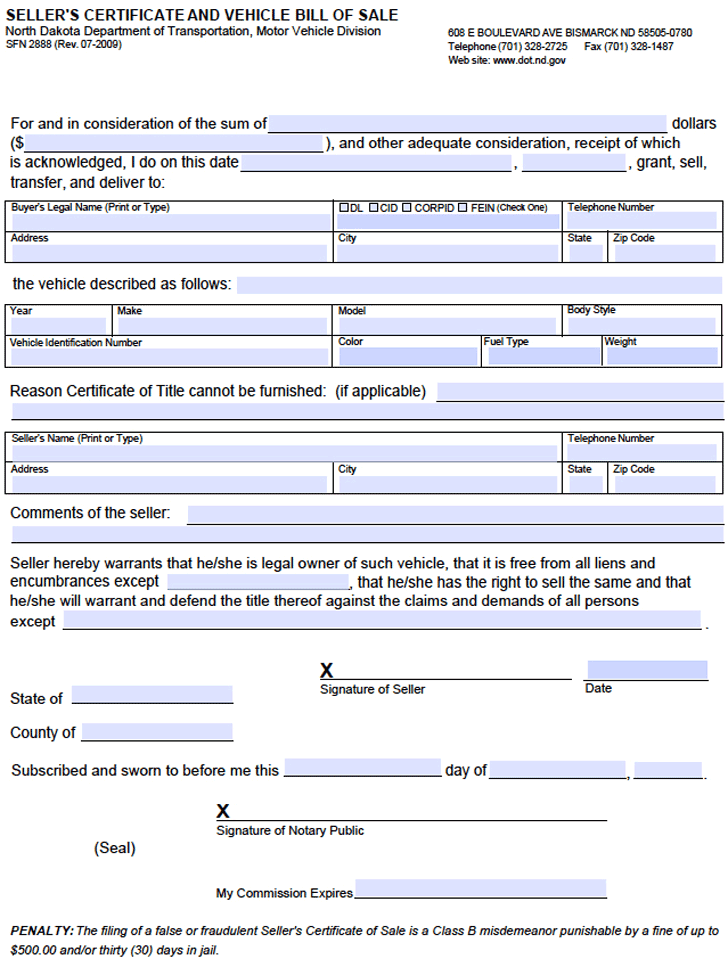 North Dakota Vehicle Bill of Sale Form