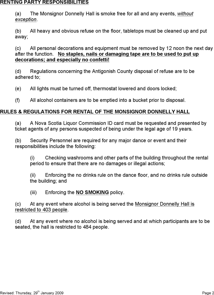 Free Nova Scotia Hall And Or Kitchen Rental Agreement Form