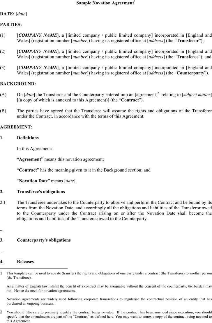 Novation Agreement Format Tekil Lessecretsdeparis Co