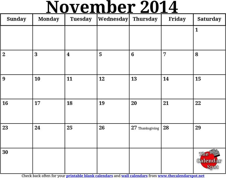 November 2014 Calendar Template Free Download Speedy Template
