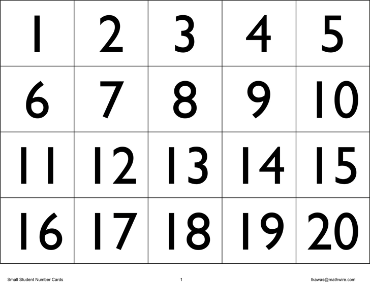 Number Cards Templates