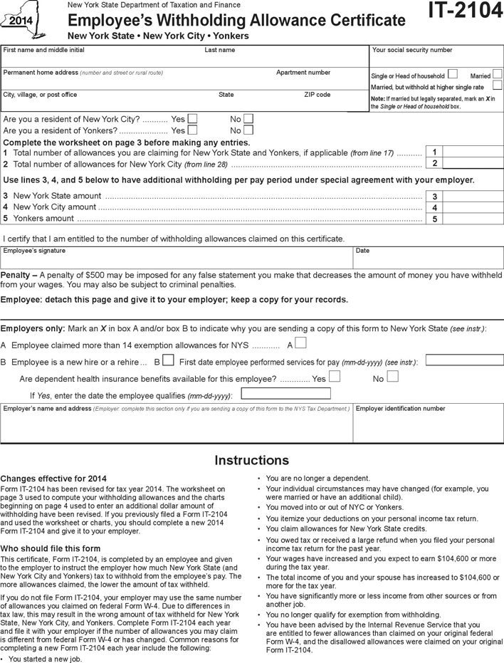 State tax withholding forms template free download speedy template ny it 2104 employees withholding allowance form yelopaper Choice Image