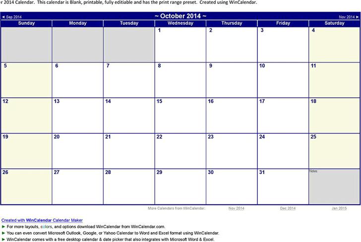 October 2014 Calendar Template Free Download Speedy Template