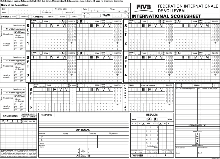 Volleyball Score Sheet Template Free Download – Canasta Score Sheet Template