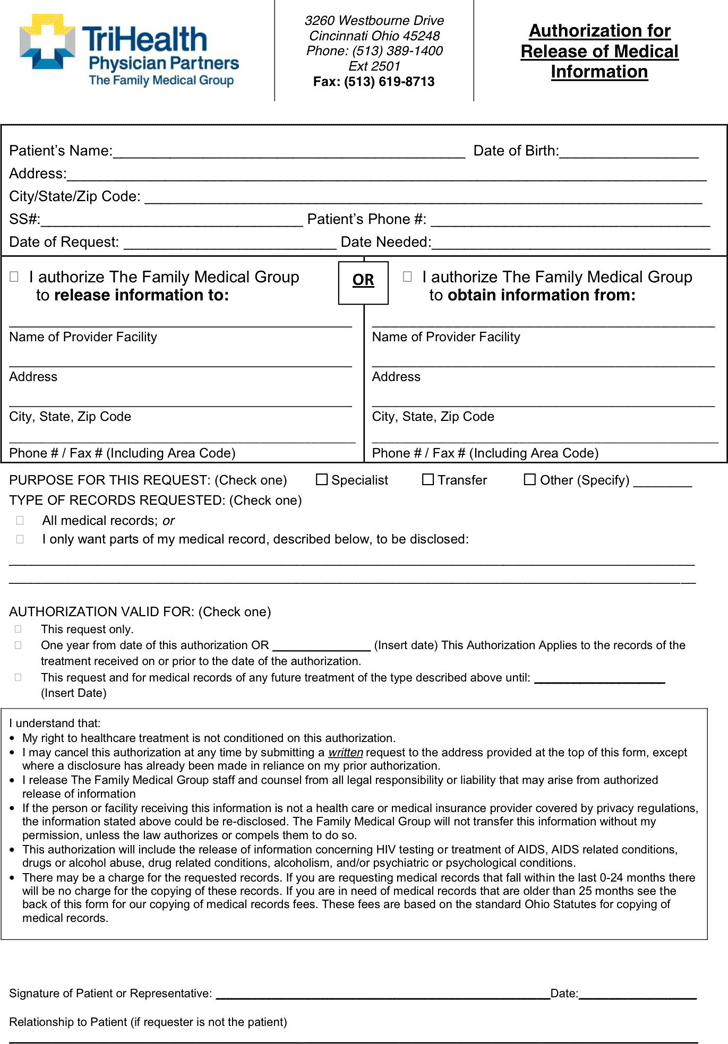 Ohio Medical Records Release Form 3