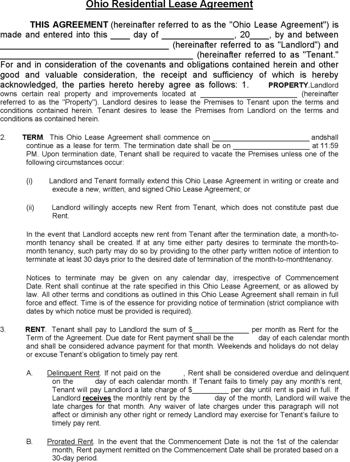 Free Ohio Residential Lease Agreement Template Pdf 252kb