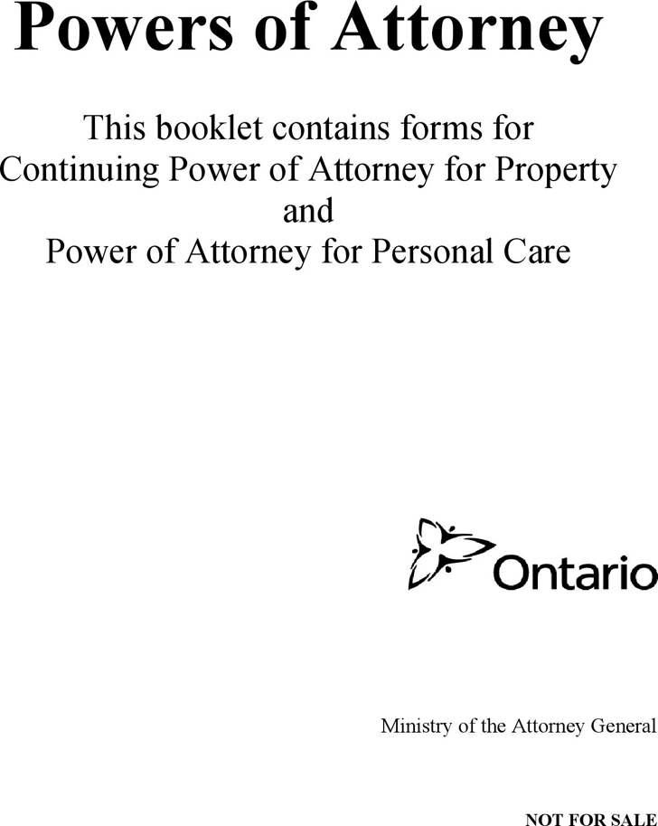 Ontario Continuing Power of Attorney for Property and for Personal Care Form