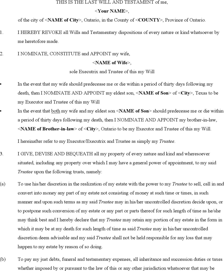 Last Will And Testament Template Free Template DownloadCustomize - Legal last will and testament template