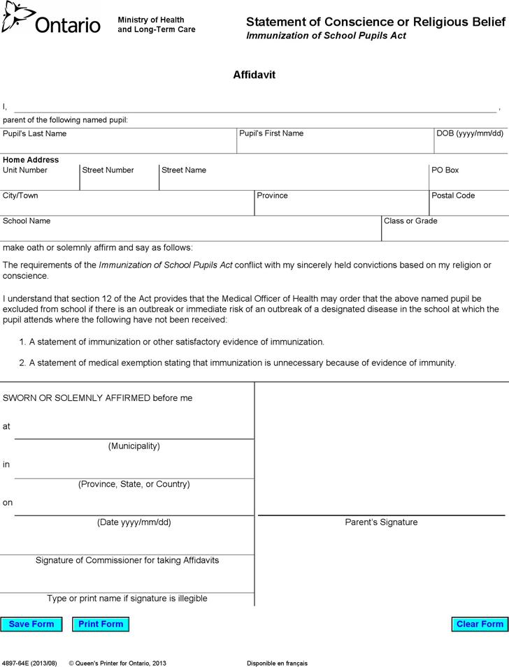 free printable affidavit statement form - Anta.expocoaching.co