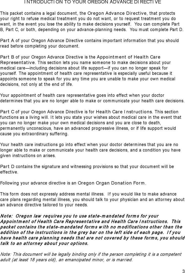 Free Oregon Health Care Advance Directive Form PDF KB - Legal forms oregon