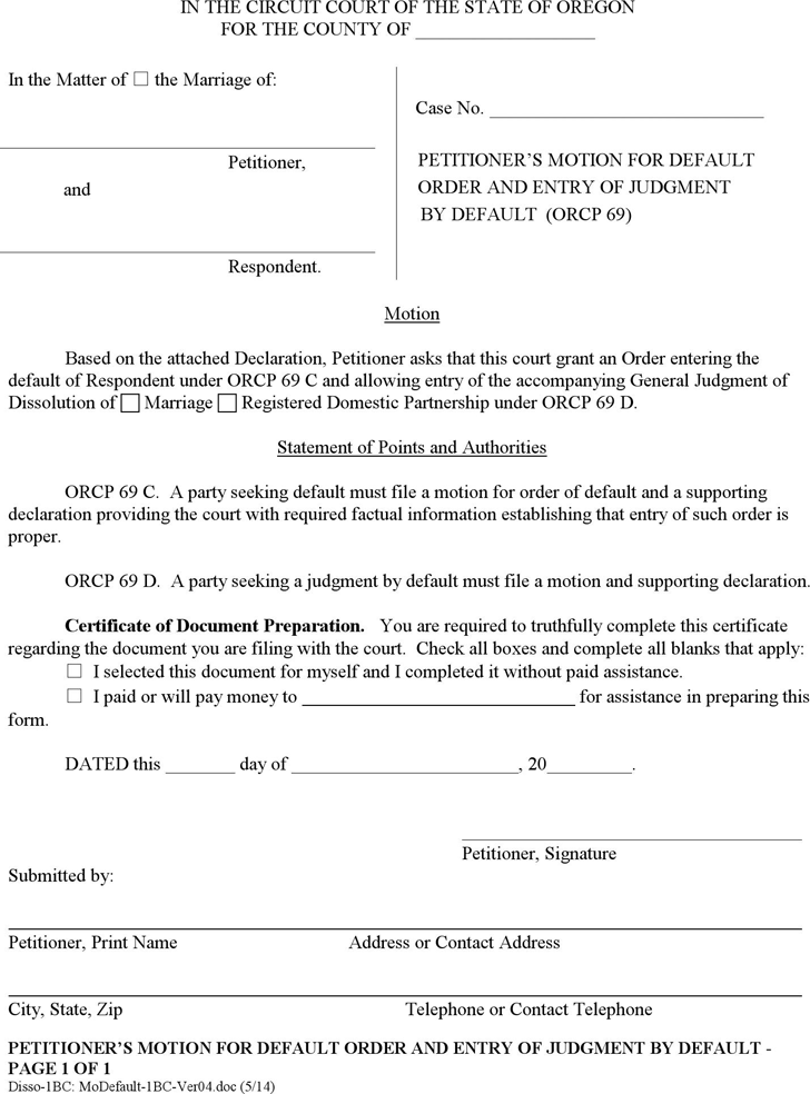 Free Oregon Petitioners Motion For Default Order And Entry Of
