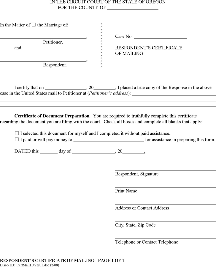 mailing certificate form oregon respondent template pdf