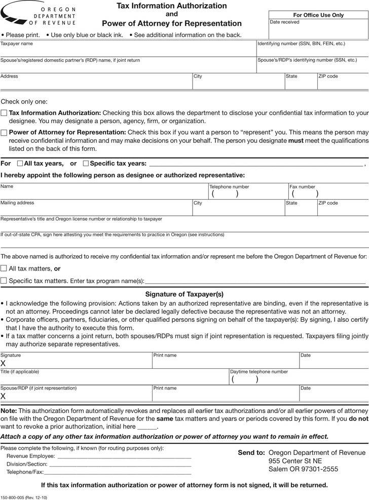 Free Oregon Tax Power Of Attorney Form Pdf 87kb 2 Pages