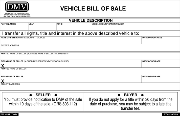 Oregon Vehicle Bill Of Sale Form