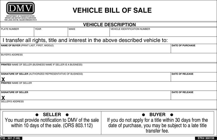Free oregon vehicle bill of sale form pdf 21kb 1 page s for Nebraska motor vehicle bill of sale