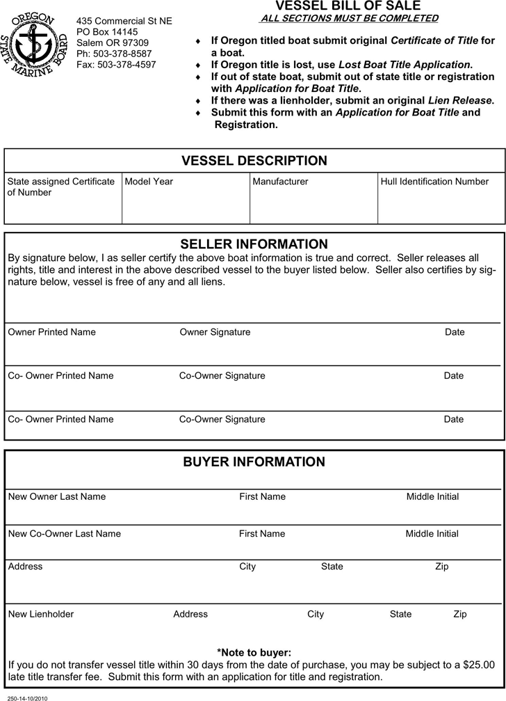 Oregon Vessel Bill of Sale Form