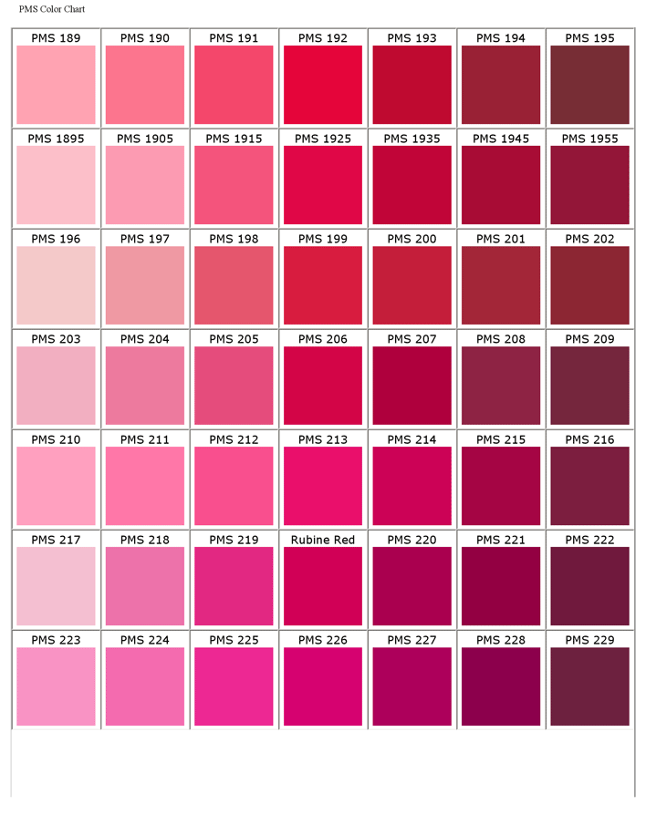 Free Pantone Matching System Color Chart Pdf 1693kb 21 Pages
