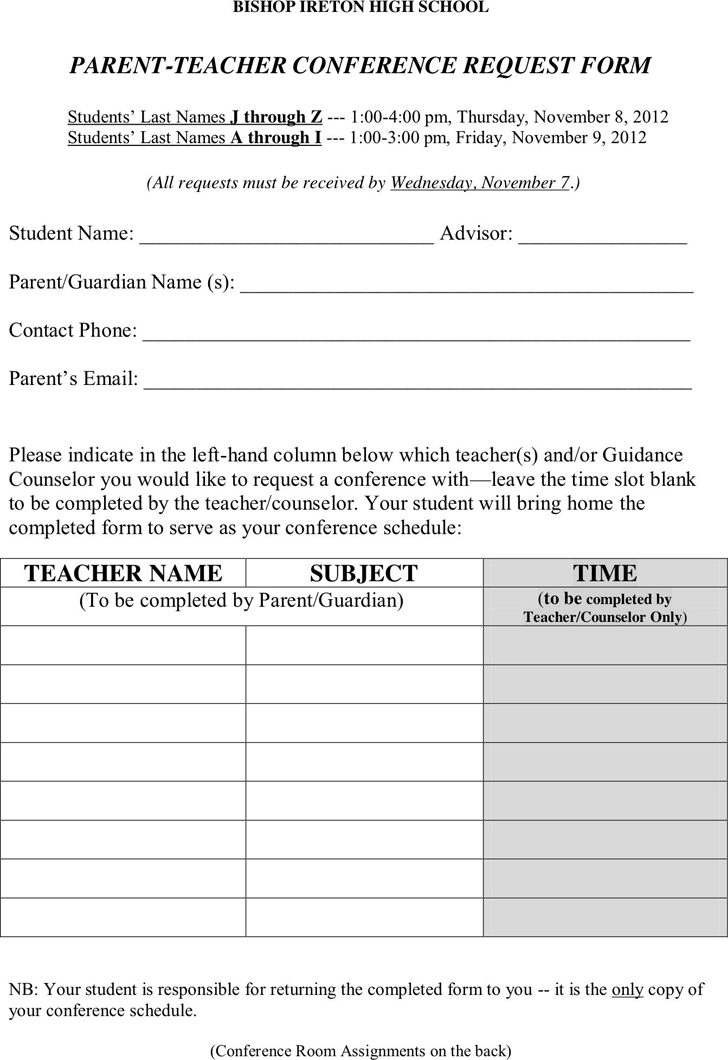 Parent Teacher Conference Request Form