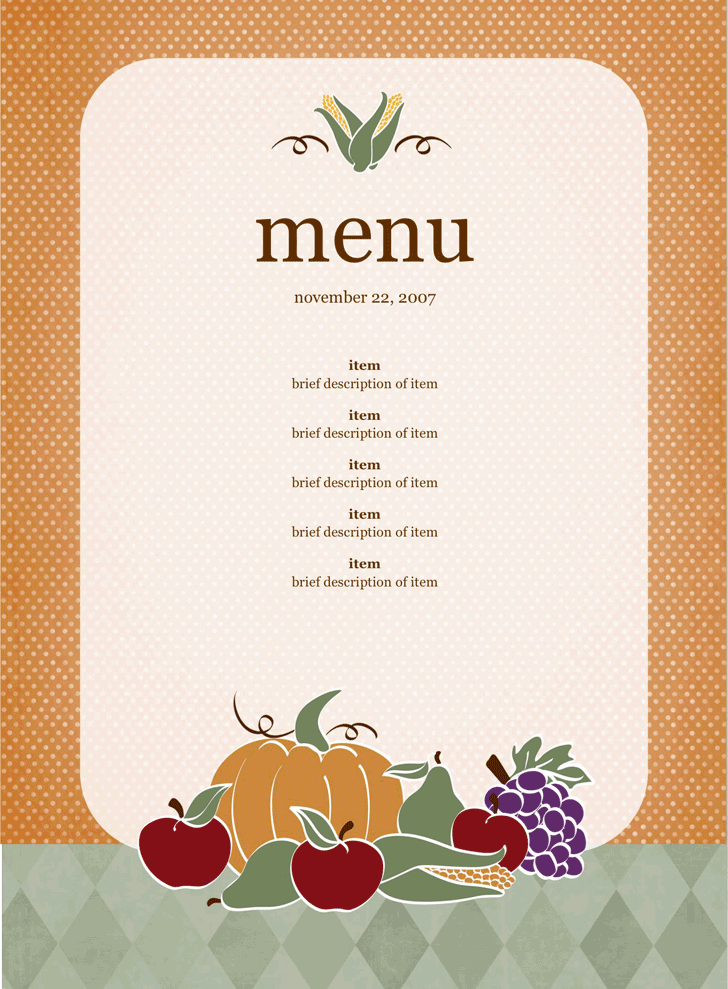 free party menu template docx 3590kb 1 page s