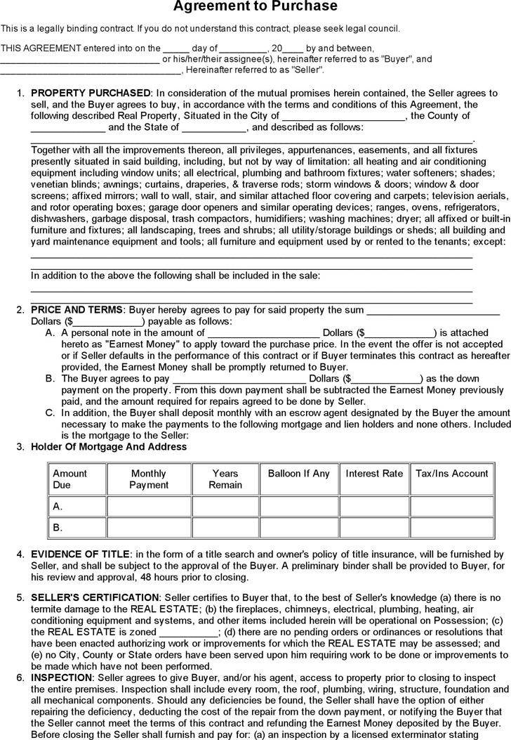 real estate purchase agreement for sale by owner