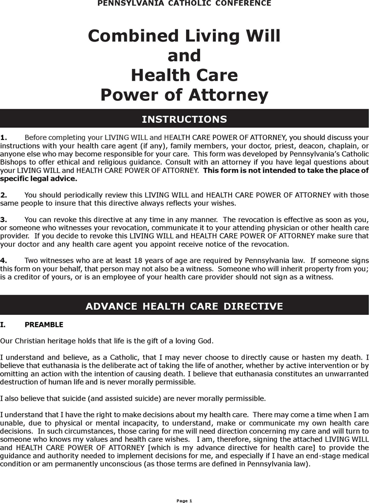 Free Pennsylvania Combined Living Will And Health Care Power Of