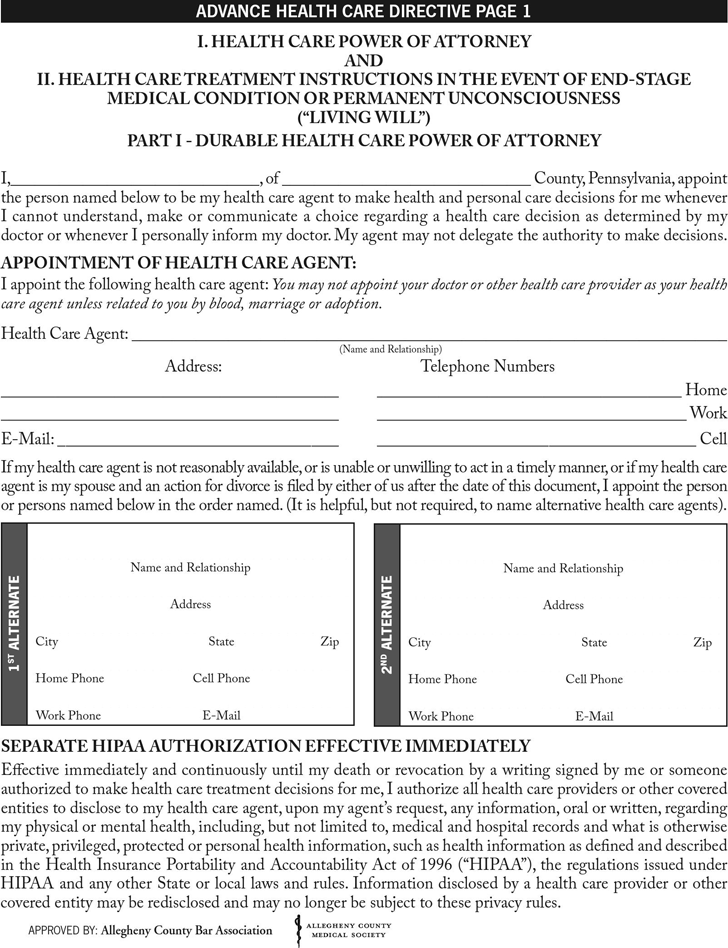 Free Pennsylvania Durable Health Care Power Of Attorney Form Pdf