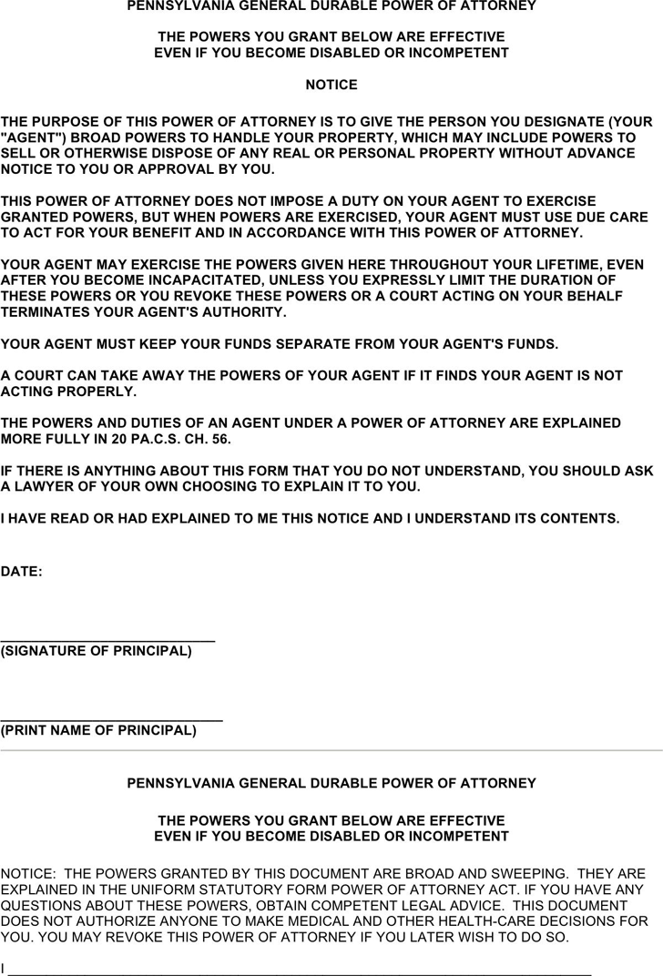 Free Pennsylvania General Durable Power Of Attorney Form Doc