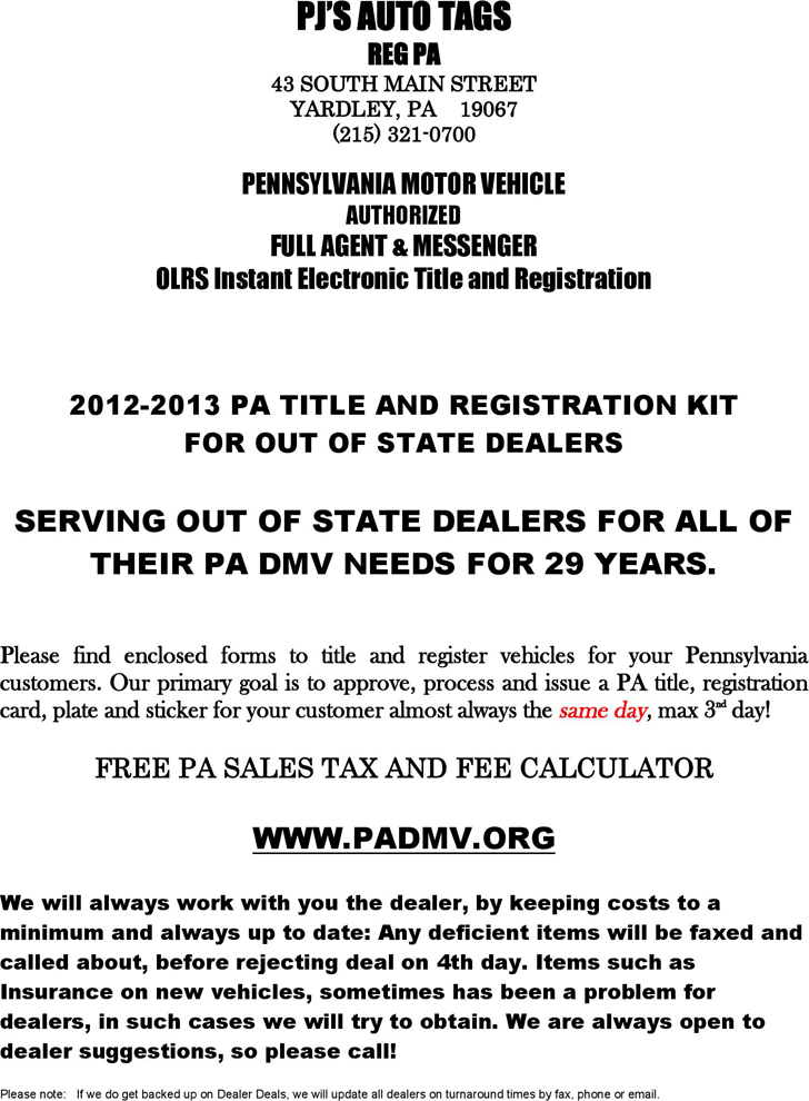 Free Pennsylvania Motor Vehicle Power Of Attorney Form Pdf 210kb