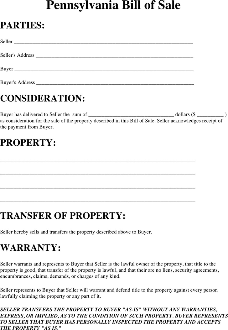 Pennsylvania Property Bill Of Sale Template  Free Template For Bill Of Sale