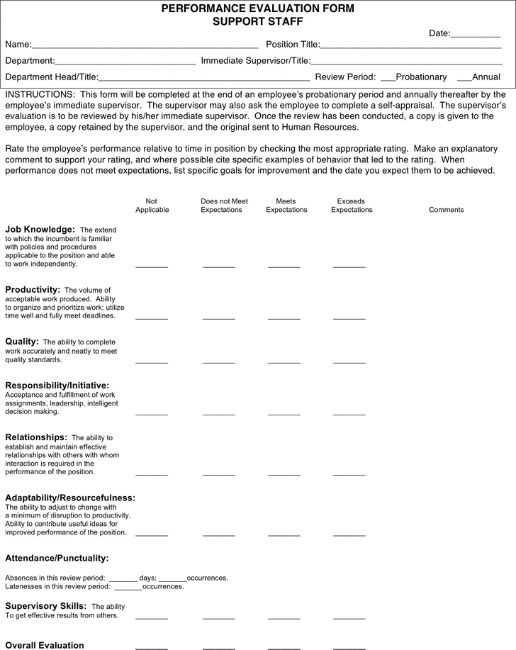 free performance review template