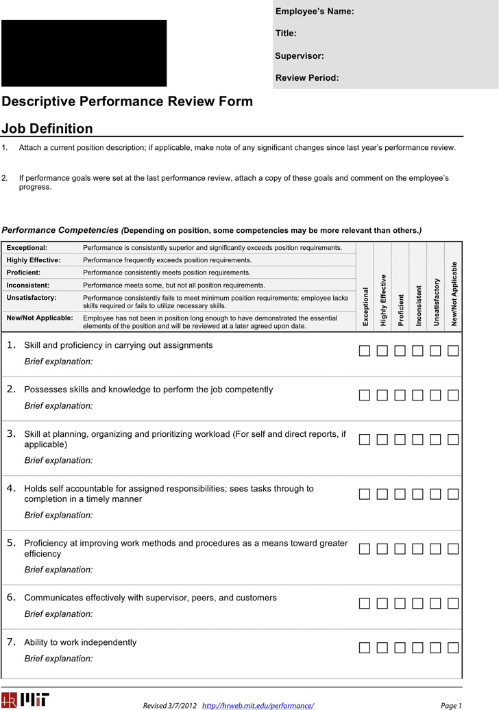 Performance Review Form  Performance Evaluation Templates