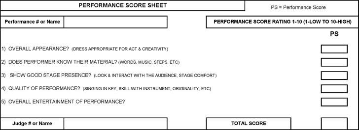 talent show score sheet