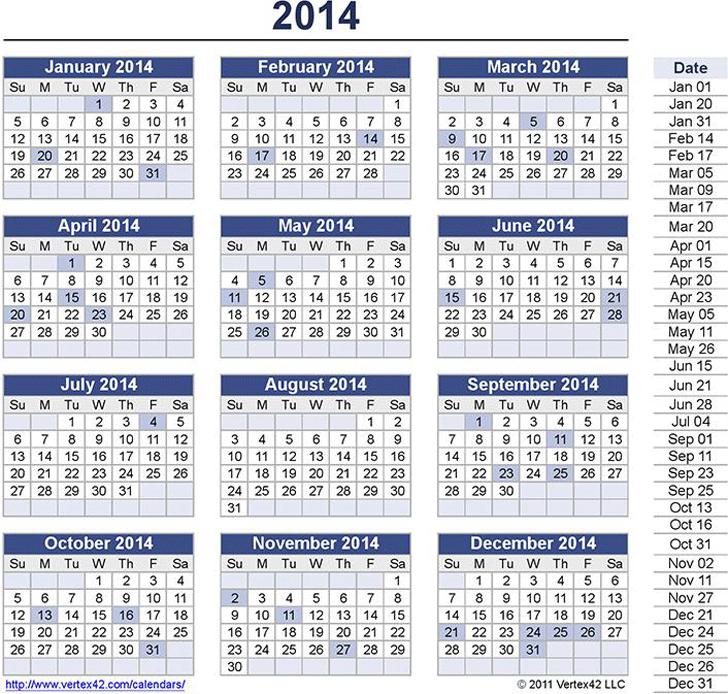 Perpetual Calendar Template 1