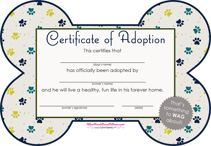 Adoption certificate template free download speedy template pet adoption certificate yelopaper Choice Image