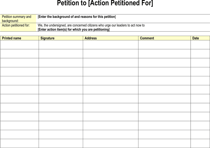 Petition Template   Template Free Download | Speedy Template