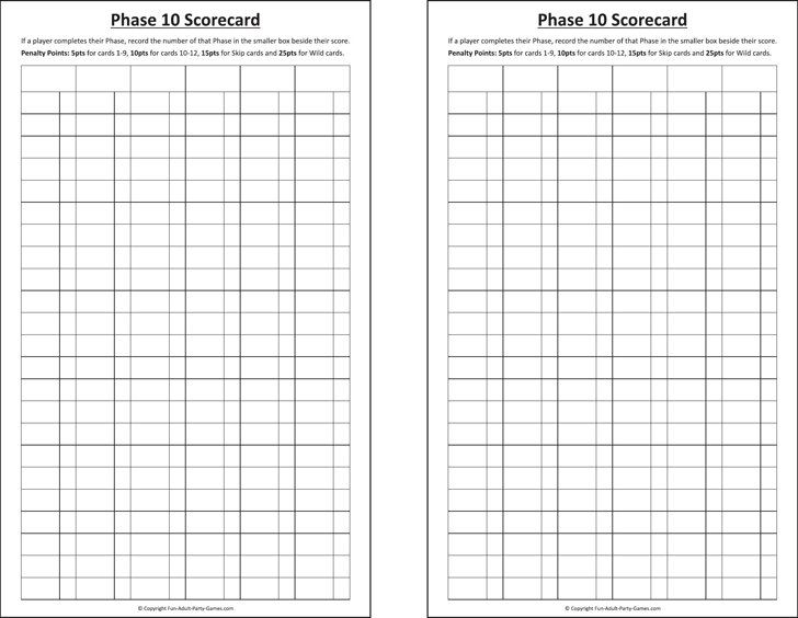Phase 10 Score Sheet Template Free Download Speedy Template